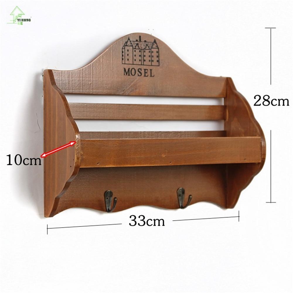 Retro Wooden Wall Shelf Organizer Key Hooks Ornament Display Rack Decorations Interior Stand Small Object 514c