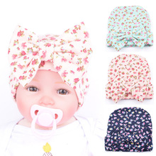 2017 newborn infant baby Girls autumn winter hat Little Flower Bowknot Beanies kids Comfortably Hospital Caps