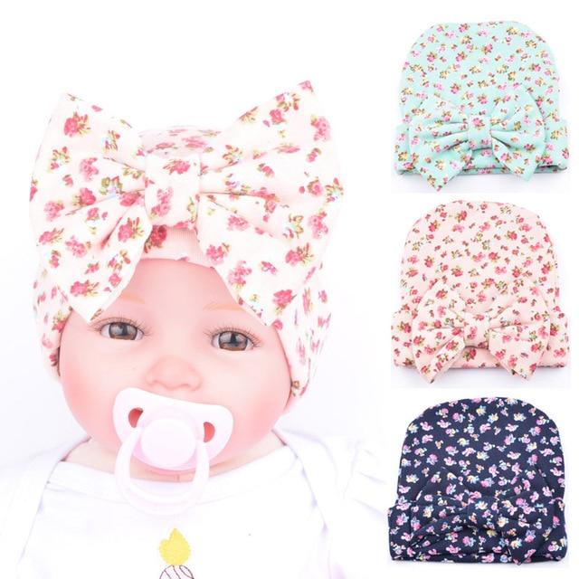 2018 recién nacido bebé sombrero niñas otoño primavera sombrero pequeña  flor arco nudo gorros niños algodón suave cómodamente casquillos del ...
