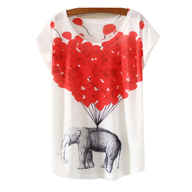 Round Collar Women T Shirt Summer Style Ink Painting Horse Pattern Print T Shirt Female Clothes in T Shirts from Women 39 s Clothing