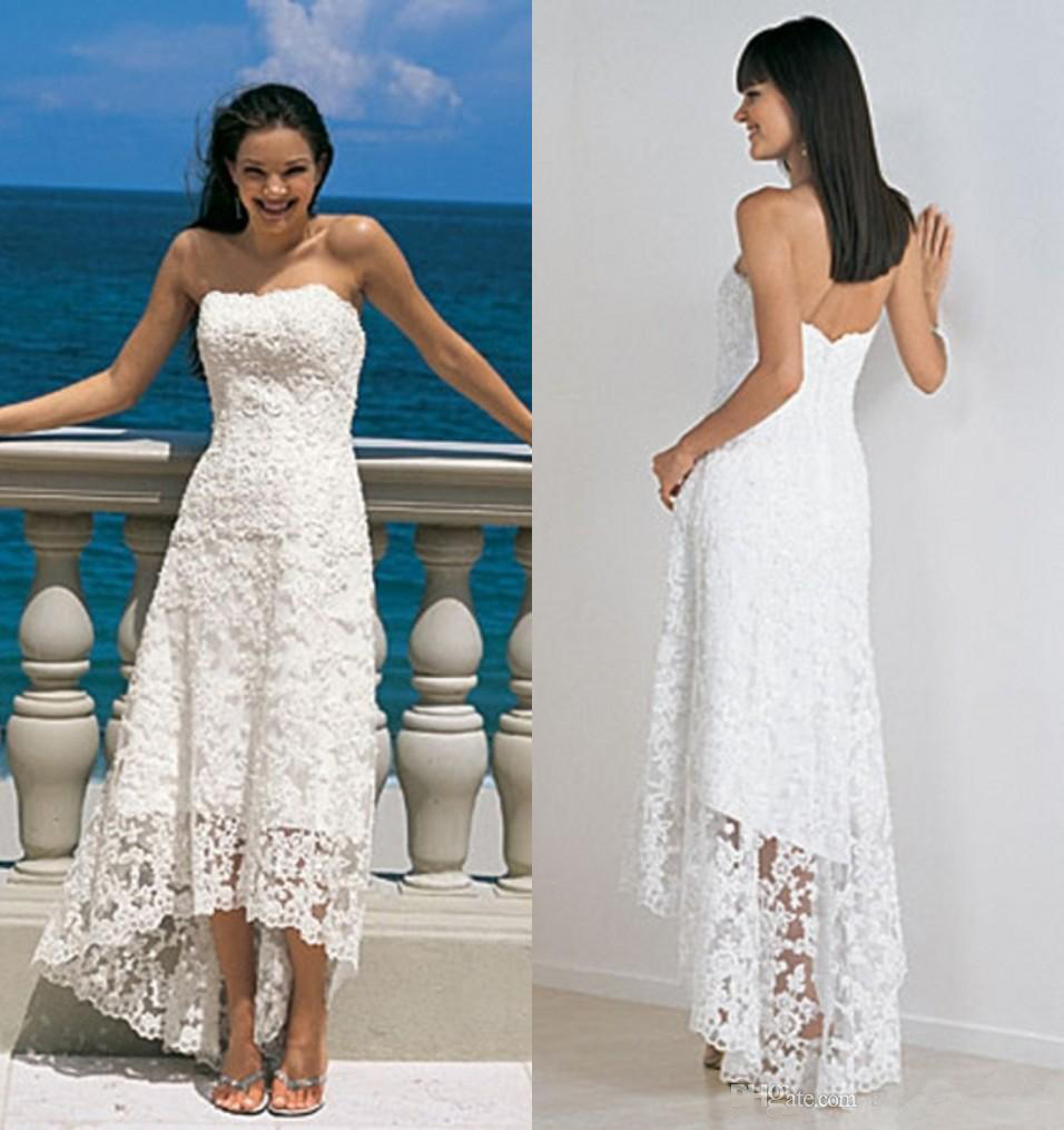 Beach wedding dresses high low cheap simple white lace for Free wedding dresses low income