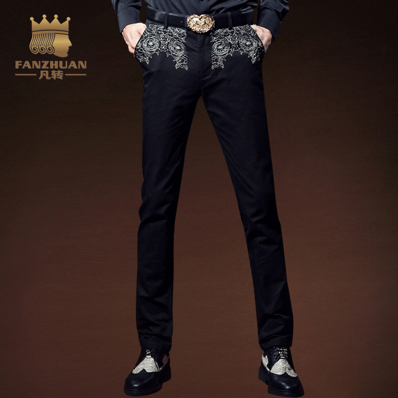 FANZHUAN Featured Clothing Gothic Style Embroidery Slim Fit Pants Men's casual pants Men Trousers Men Full Length Straight Pants