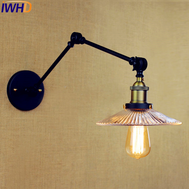 Glass Loft Retro Vintage Wall Light Fixtures Wandlampen Stair Lights Swing Long Arm Wall Lamp Sconce Appliques Pared Murale Pleasant In After-Taste Lights & Lighting