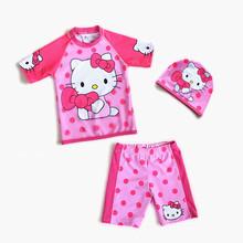 2017 Girls Hello Kitty Swimsuit Three-Piece Sporting Suits Long Sleeve Solid Children Kids Swimwear Plavky Beachwear sw610-CGR1