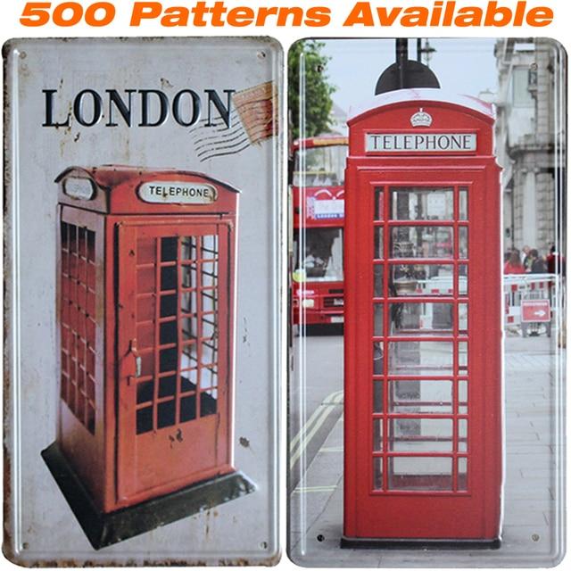 London Telephone Booth ] Car License Plate Vintage Home Decor Tin ...