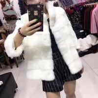 Furealux модное меховое пальто натуральный норковый воротник стойка высококачественный норковый шуба женское натуральное меховые пальто