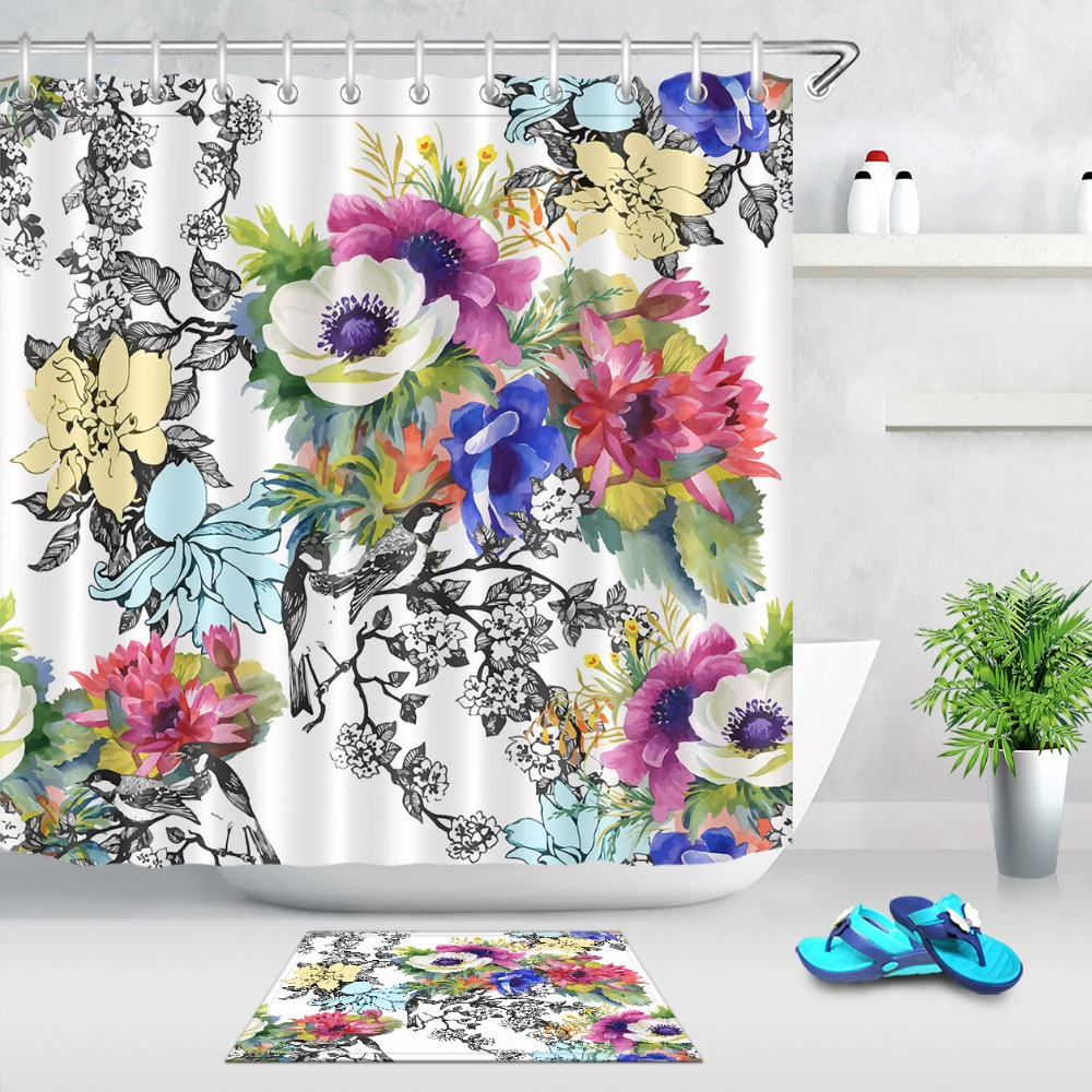 Watercolor Sunflowers Shower Curtain Set Fabric Liner Bathroom Accessories 180CM