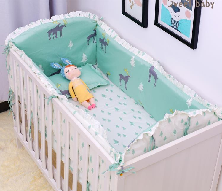 Dicount 6pcs Elk Baby Bumper Bumpers Bed Protector Cot Bed Cot Bedding Sets Crib Fleece Bumper Set (4bumpers+sheet+pillow Cover)