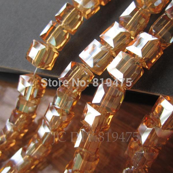 20 Pieces/lot 10mm Cube Glass Crystal Beads Loose Beads For Jewelry Making Gold Champagne Ab Color 2019 Latest Style Online Sale 50% Selfless