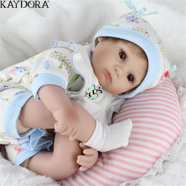 KAYDORA Reborn Babies Silicone Doll Handmade Toys For Children Fashion Boy Newborn Mini Doll Bathed Birthday Christmas Gifts