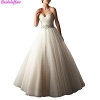Vestido de Noiva женское A Line без бретелек Расшитое бисером с рюшами длинное свадебное платье прозрачная ткань с аппликацией и стразами принцесса к