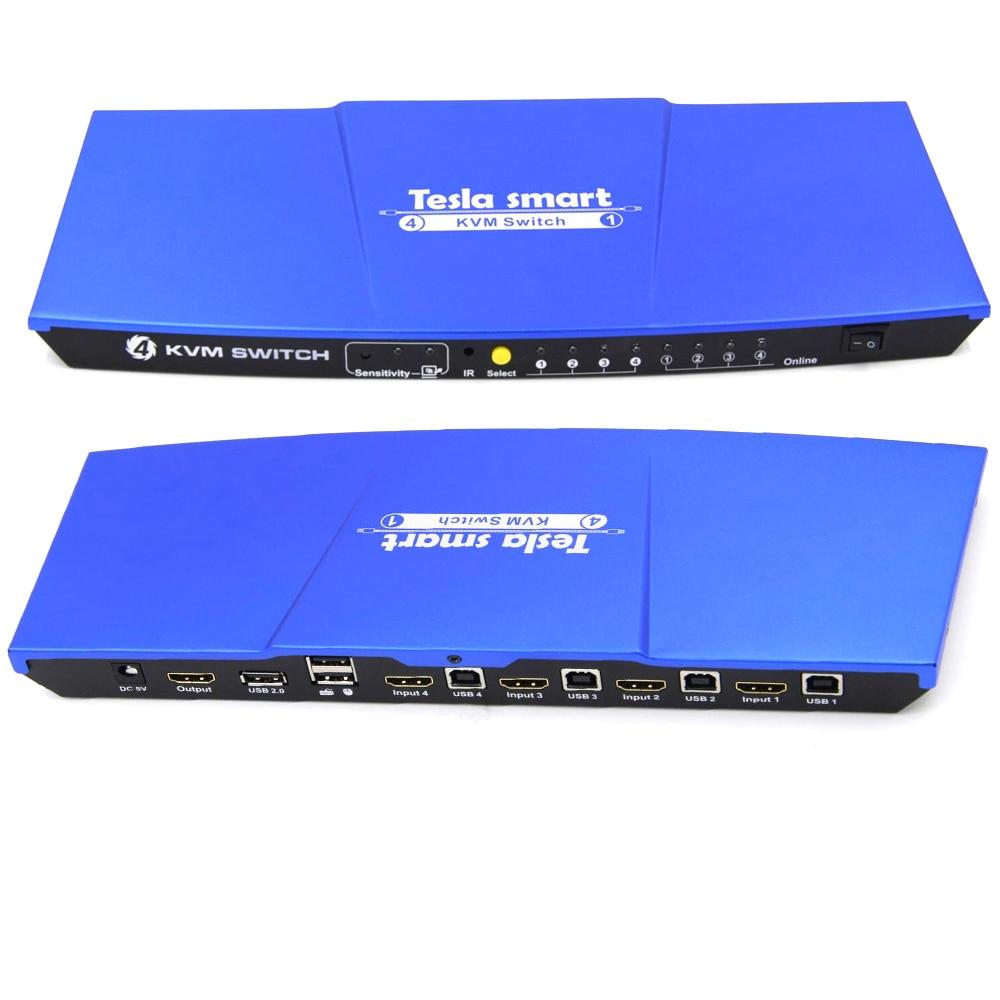 Kvm-switches 2 K Extra Usb2.0 Port Blau Hohe Qualität Usb Hdmi Kvm Schalter 4x1 Usb Kvm Hdmi Schalter Unterstützung 3840*2160/4 K
