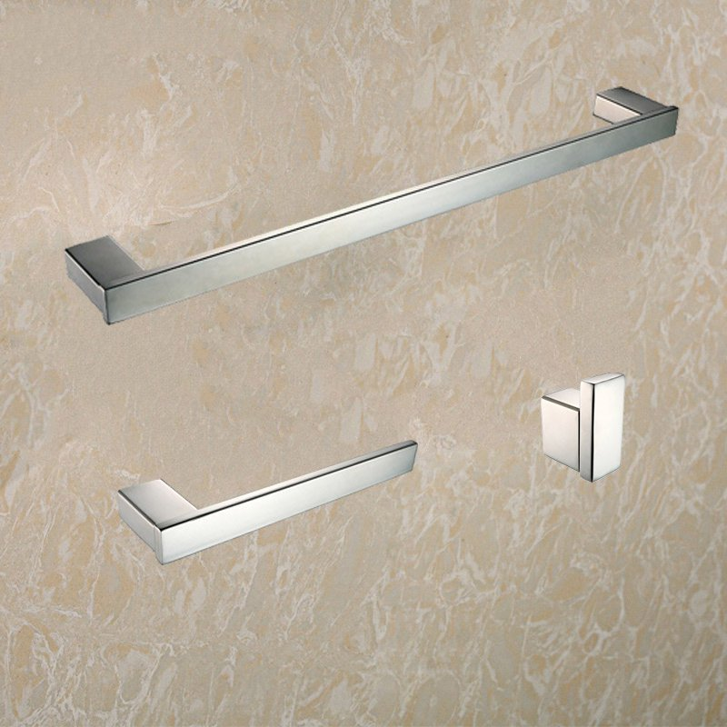 ФОТО Stainless steel 304 bathroom accessories set 3 Piece-Single Towel Bar and Towel Ring and cloth robe hook Polished Finished