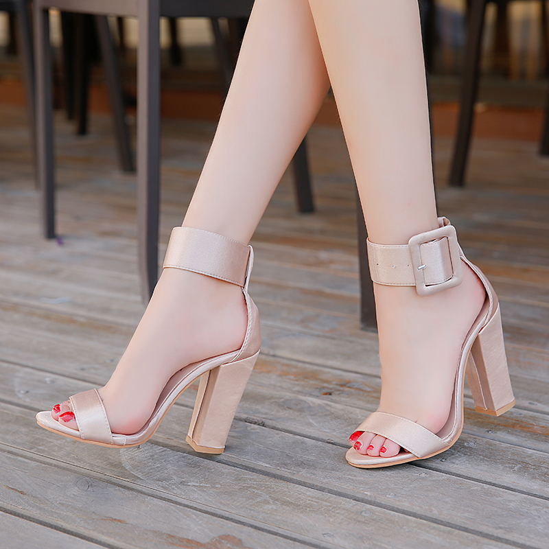 Woman Sandals Ankle Strap Buckle Ladies Pumps Women High Square Heels Party Shoes Peep Toe Gladiator Summer Sandals Big Size 43 large size 34 44 women open toe buckle high heels sandals wedges summer ladies cut outs peep toe rhinestone party wedding shoes