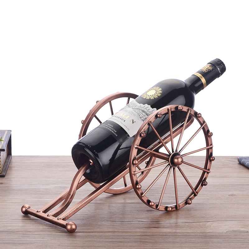 Antique Iron Art Cannon Model Wine Bottle Holder Decorative Metal Artillery Miniature Wine Rack Barware Ornament Craftworks