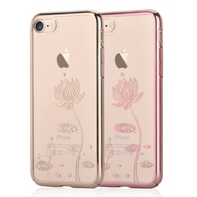 DEVIA for iPhone 7 4.7 inch Case Crystal Lotus Decoration Electroplating PC Phone Cases Cover Bag for iPhone 7 4.7 – Rose Gold