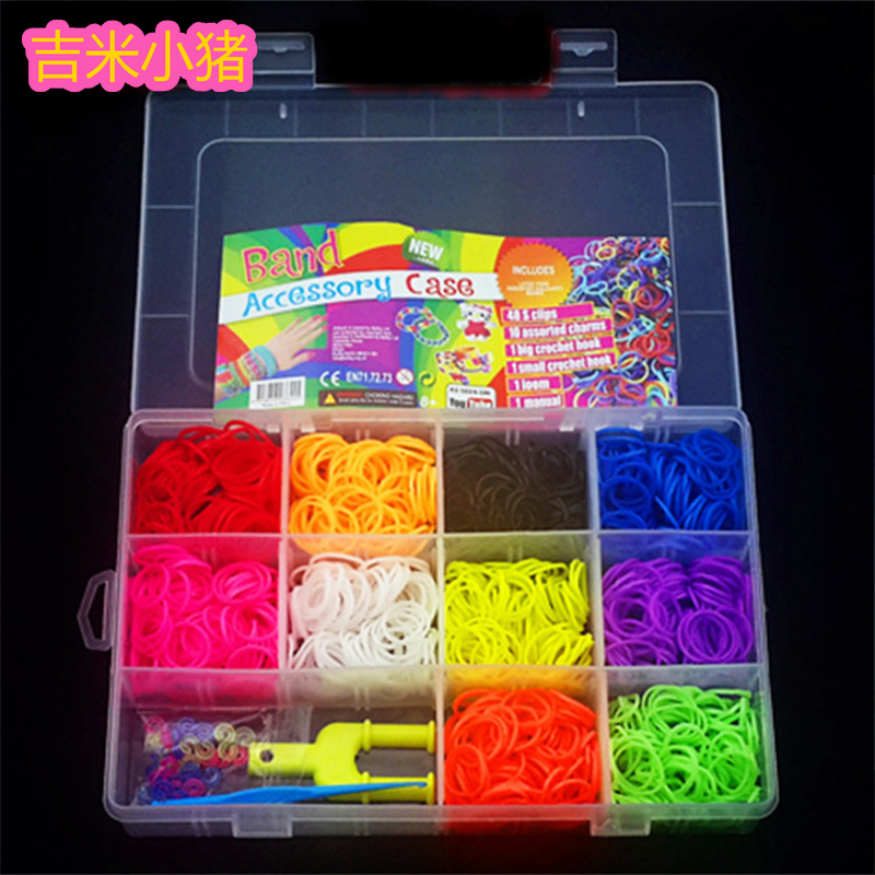 1500pcs Rubber Loom Bands Girl Gift For Children Elastic Band For Weaving Lacing Bracelets Toy 10 Color Box Set For Diy Material