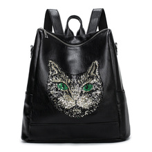 Fashion Women Backpack Big Crown Embroidered Sequins Wholesale Leather School Bags