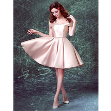 2016 elegantes A-linie Kurze Cocktailkleider Satin Off-the-shoulder Sleeveless Keen länge Homecoming Prom Kleid Vestidos De Coctel