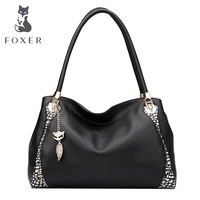 FOXER First Layer Cowhide Genuine Learher Fashion Color Portable Shoulder Bag Handbag Free Shipping
