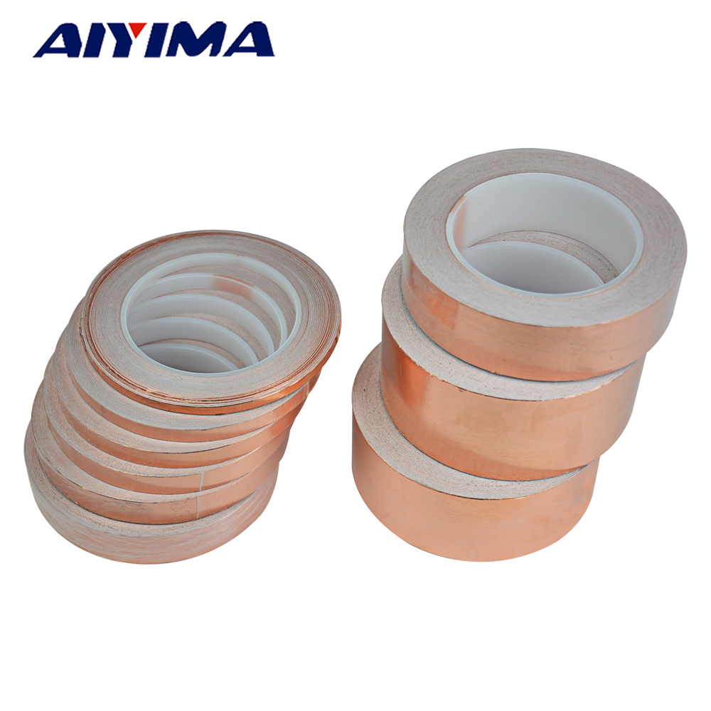 1pc 30M single-sided Conductive EMI Shielding Copper Foil Tape 5MM -50MM Adhesive Barrier 0.06mm thick 6mm 30m 0 06mm thick emi shielding copper foil tape double sided conductive single adhesive