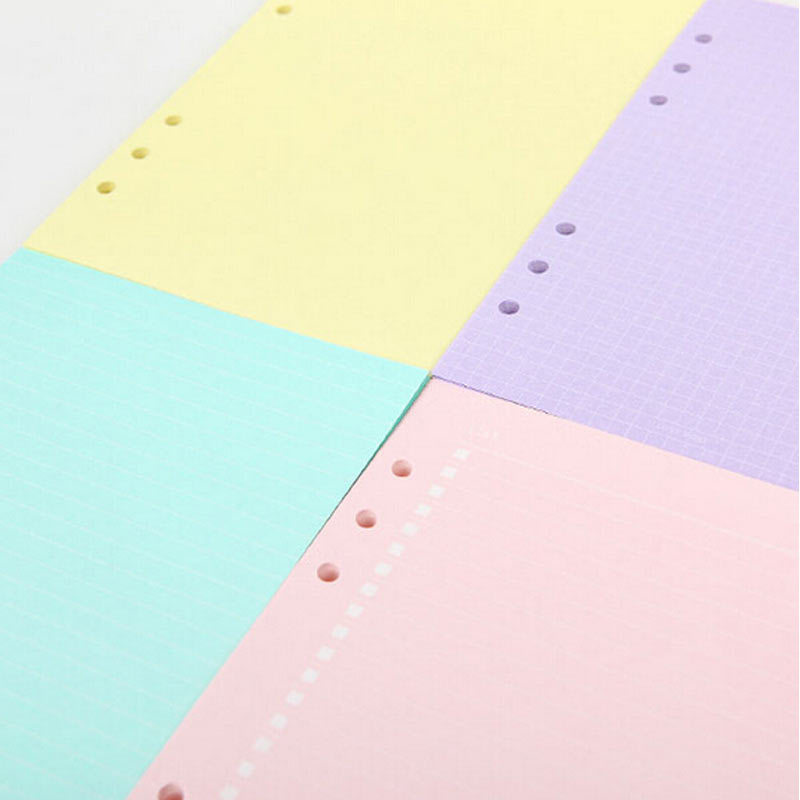 Dokibook A5 A6 Loose leaf  Filler Paper Solid Colorful List Grid Line Filler Paper Suitable For Filofax