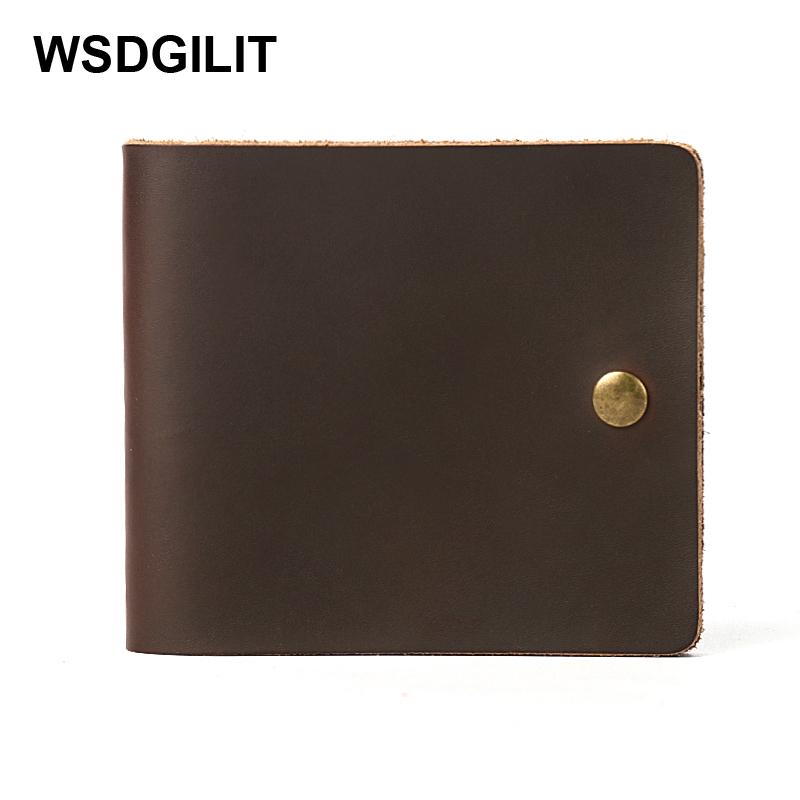 Handmade Vintage Men Wallets Crazy Horse Genuine Leather Card Holder Clutch Organizer Short Purse Hasp Slim Wallet Carteira New crazy horse leather billfolds wallet card holder leather card case for men 8056r 1