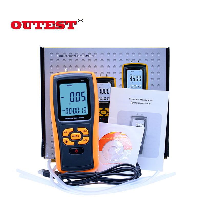 GM511 Portable USB Digital LCD Pressure Gauge Differential Pressure Manometer Measuring Range 50kPa Pressure manometer portable digital lcd display pressure manometer gm510 50kpa pressure differential manometer pressure gauge