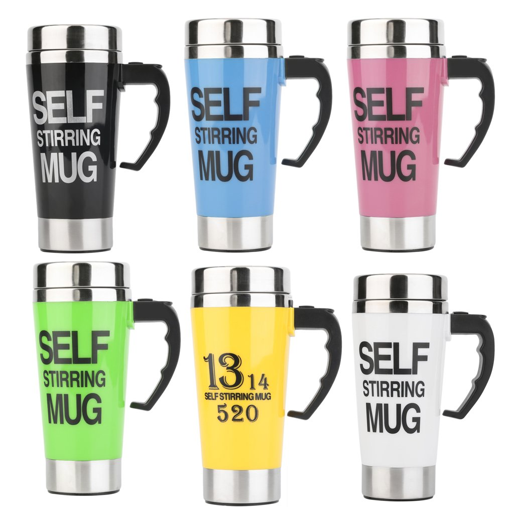 500ML Stainless Lazy Self Stirring Mug Auto Mixing Tea Coffee Cup Office Gift 3 Colors