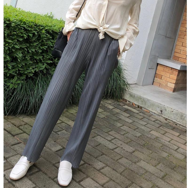 Changpleat 2018 New Basics women straight pants Miyak Pleated Solid Elastic waist Pockets Simple Female trousers Fashion Tide