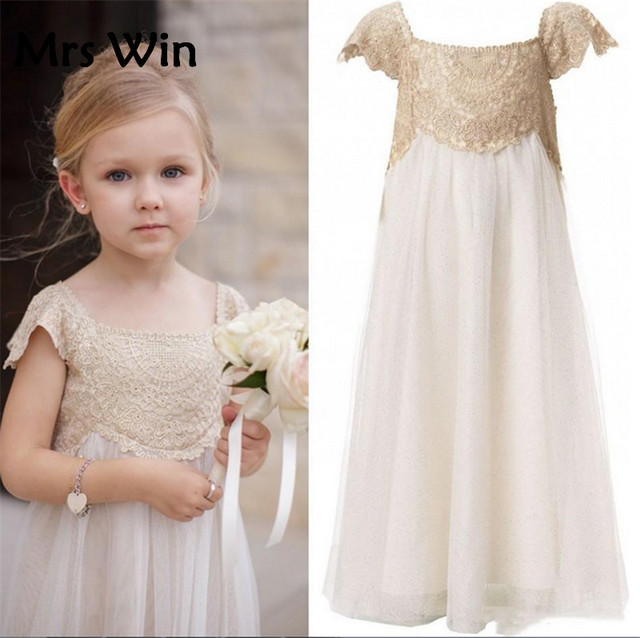 3e570e2ba26 Ivory Lace Flower Girl Dress Girls Boho Dress blumenkinder kleider Short  Sleeves First Communion Dress vestiti comunione bambina
