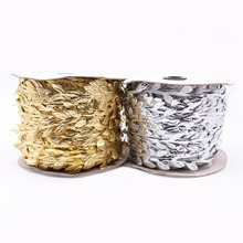 5 Meters Gold and Silver Artificial Flower Leaves Rattan Flower Vine DIY Wedding Birthday Party Decorative Accessories Garland