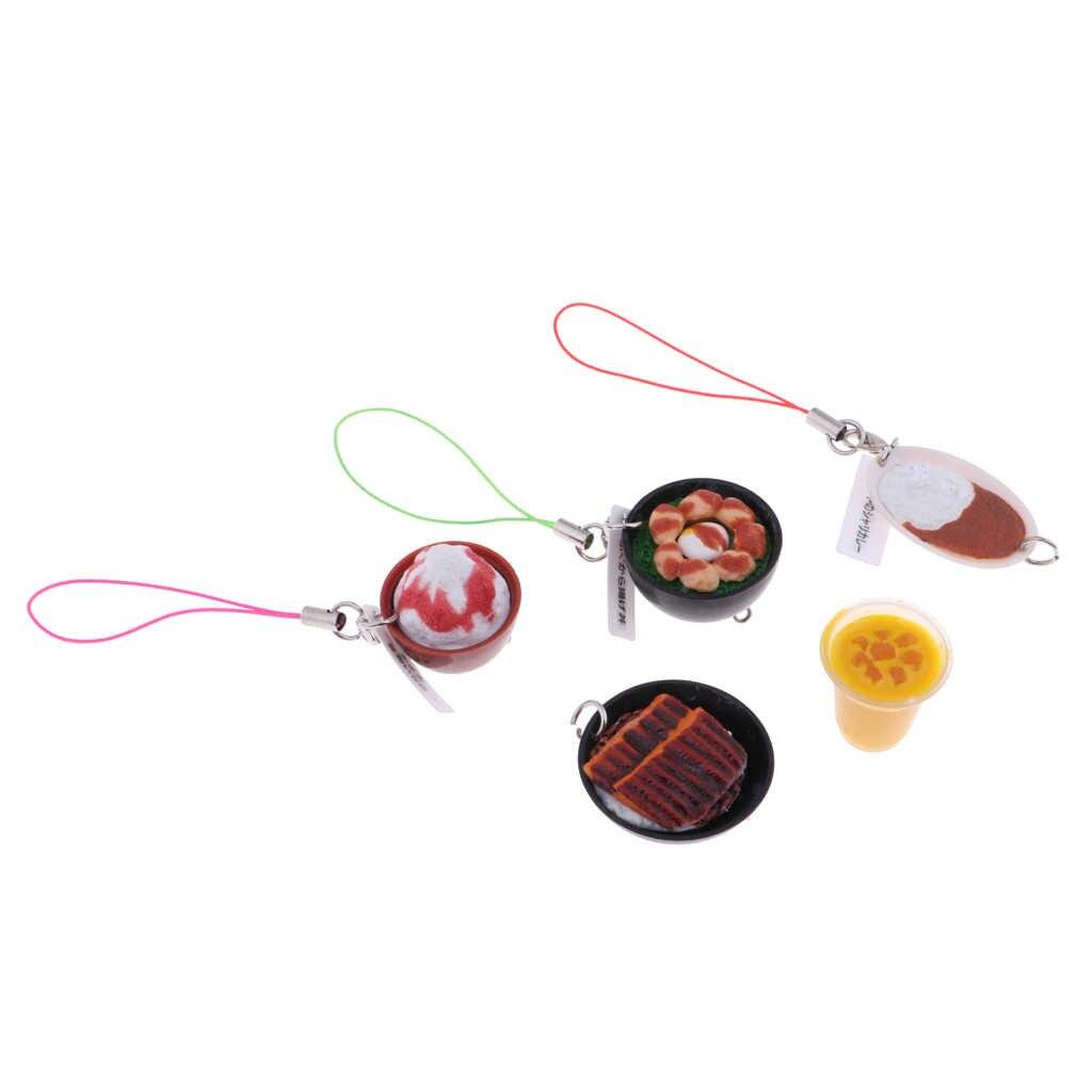 5 cái 1/6 Búp Bê Nhà Thu Nhỏ Bàn Ăn Nhà Bếp Trang Trí Nội Thất Thực Phẩm Thiết Lập Trái Cây Nước Đá Kem Thịt Viên Bít Tết Keychain