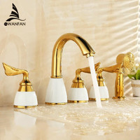 Free Shipping Luxury Waterfall Bathtub Faucet Bathroom Bath Tub Mixer Taps With Hand 5 Pieces Set