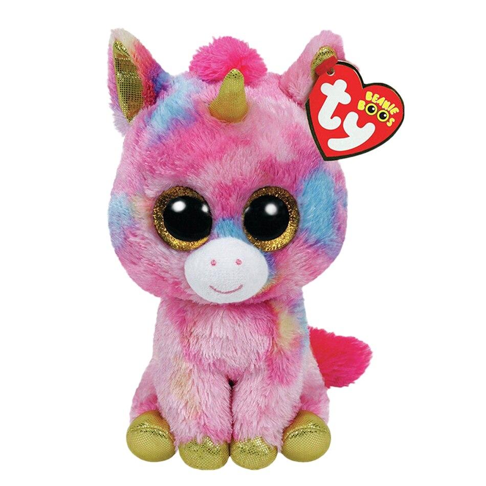 Ty Beanie Боос Мягкие и плюшевые Животные Розовый Единорог игрушки куклы для девочек с тегом 6 15 см ...