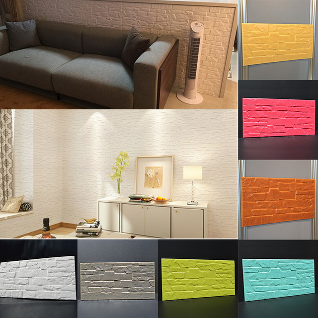 Brick Stone Design Wall Sticker PE Simple Pure Multi Colored Sound  Insulation Brick Pattern PVC