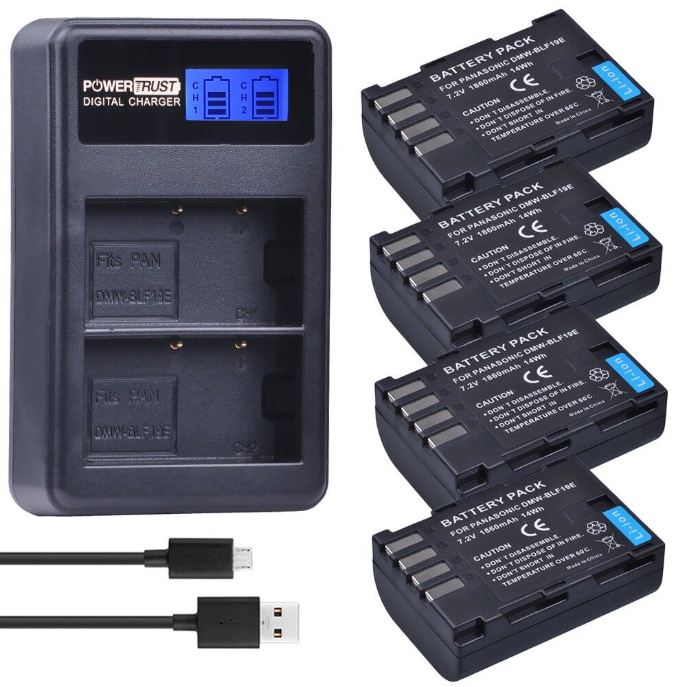 4Pcs 1860mAh DMW-BLF19E DMW-BLF19 Camera Battery DMW BLF19 BLF19 BLF19E +LCD Dual USB <font><b>Charger</b></font> for <font><b>Panasonic</b></font> <font><b>Lumix</b></font> GH3 GH4 GH5
