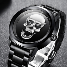 NEW Creative Skull Fashionable Waterproof Stainless Steel Sports Watch for MEN