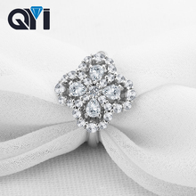 QYI Flower Shape 925 Solid Silver Pear cut Simulated diamond  Engagement Wedding Rings Women Gift Ring Fashion Jewelry