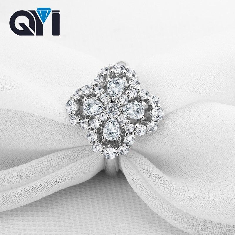 QYI quatre feuilles feuilles trèfle anneaux 925 solide argent simulé diamant fiançailles anneaux de mariage femmes cadeau anneau bijoux de mode