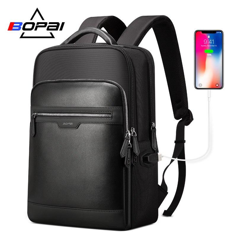 BOPAI sac à dos en cuir pour ordinateur portable hommes multifonction USB charge grande capacité Anti-vol voyage affaires sac à dos pour 15.6 pouces