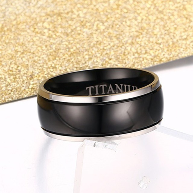 Medical Alert ID Type 1/2 Diabetes Ring Black Titanium  3