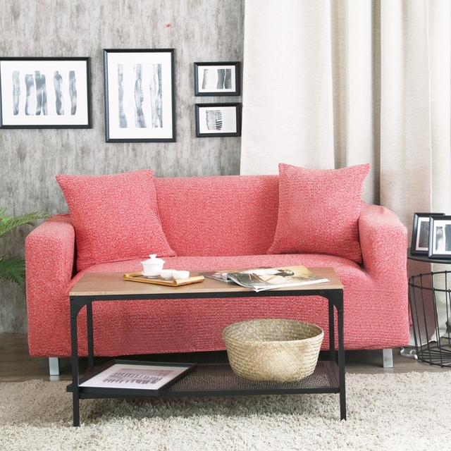 100 Polyester Pink Stretch Sofa Cover Multi Size Home Decor Solid Color Corner