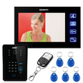 "MOUNTAINONE 7"" LCD  Video Door Phone Doorbell Intercom Touch Key System Video Camera With RFID Keypad access control Lock Remote"