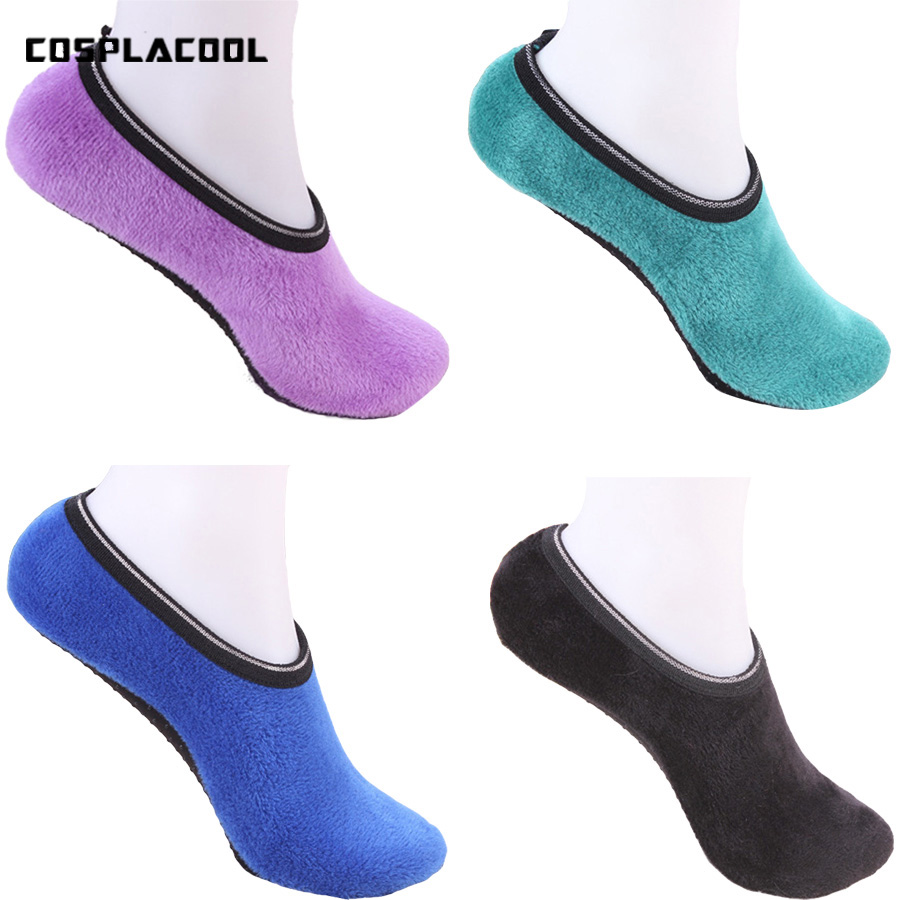 [COSPLACOOL] Thicken Warm Socks Women Solid Color Non-slip Room Yogo Elastic Floor Meias Slippers Fit Size 35-40cm Calcetines