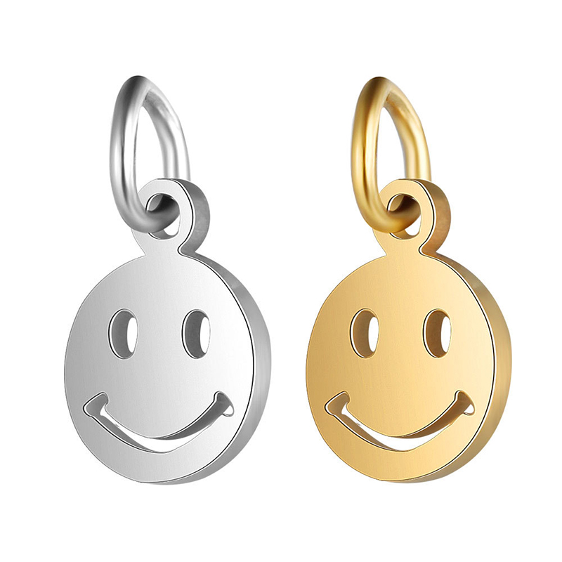 5 Pcs/lot Cute Warm Gold Plated Stainless Steel Smiley Face Charms Pendant For DIY Necklace Jewelry Making Findings Accessories