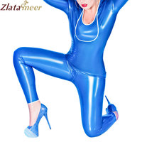 New Women Blue Latex Bodysuit Tight Latex Zentai Catsuit Rubber One piece Plus Size Adult Fetish Costume LC144