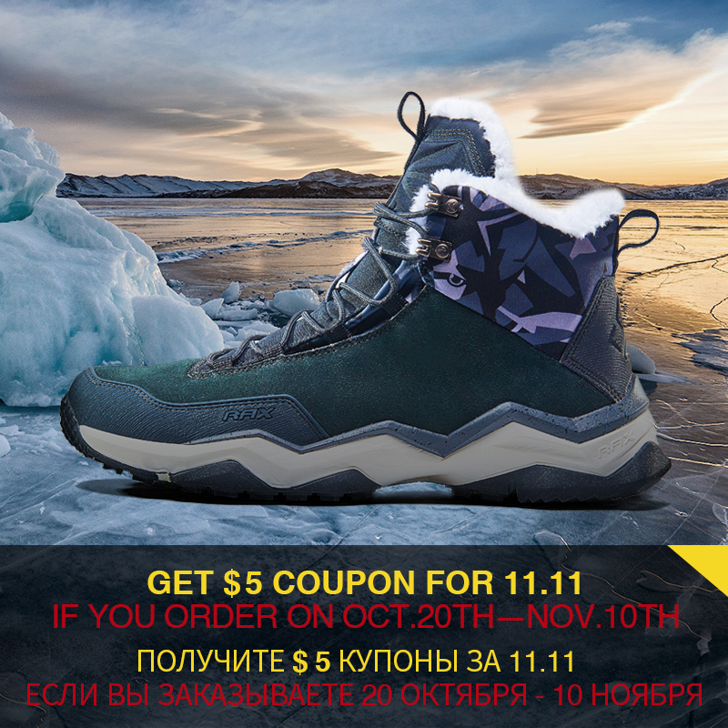 RAX Men's Winter Hiking Boots Breathable Comfortable Soft Mountain Shoes for Professional Men Mountain Trekking Anti-slip Shoes