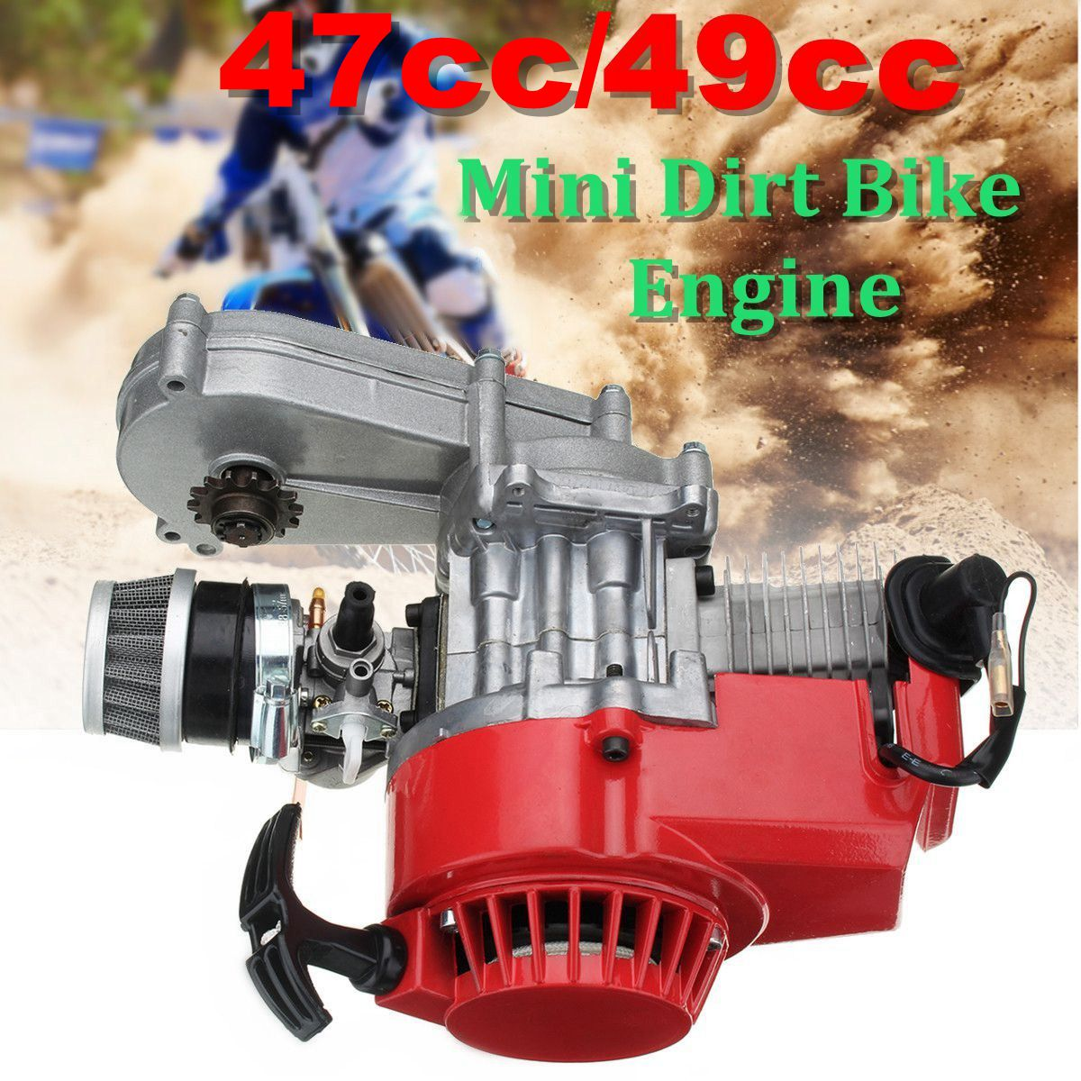 47cc/49cc Engine 2-нажимом запуска двигателя w/раздаточной коробки красный для мини Байк