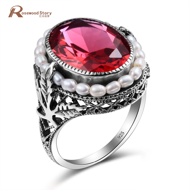 100% Genuine Natural Freshwater Pearl Ring Elegant Lab Ruby Stone CZ Ring 925 Sterling Silver Cocktail Rings For Women Wedding ...